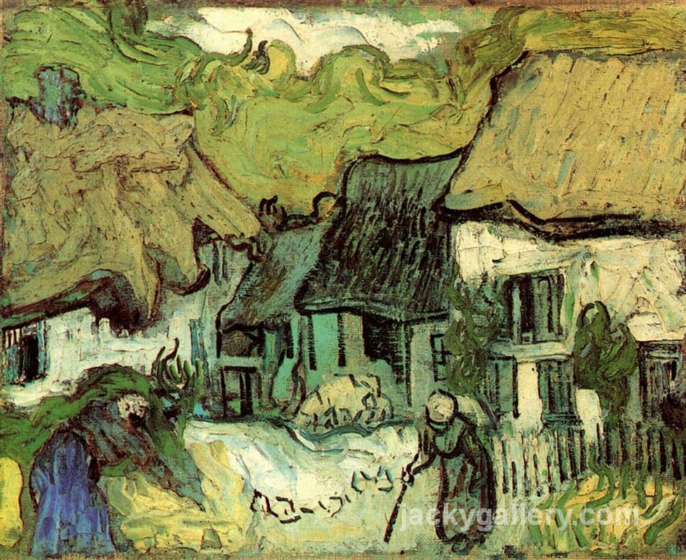 Thatched Cottages in Jorgus, Van Gogh painting