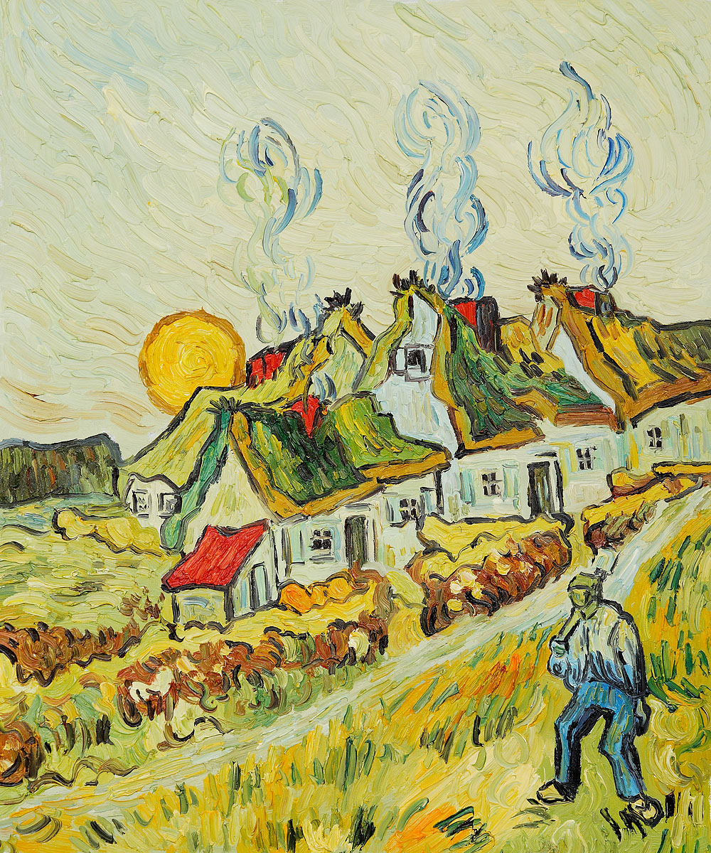 Thatched Cottages in the Sunshine Reminiscences of the North by Vincent Van Gogh