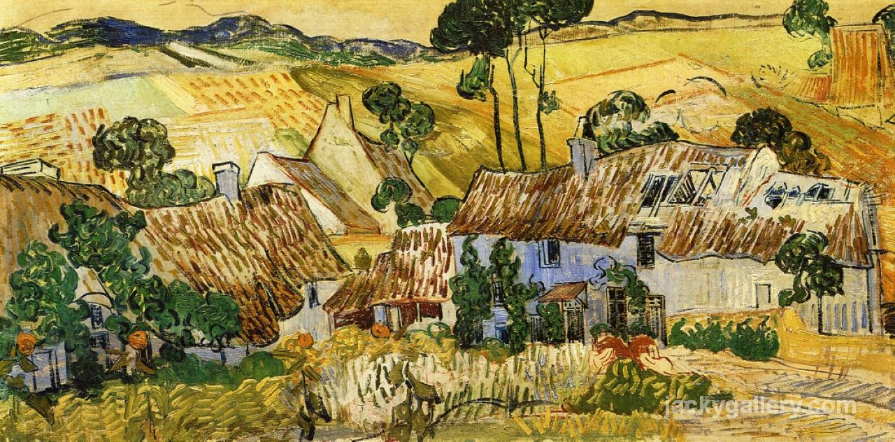 Thatched Houses against a Hill, Van Gogh painting