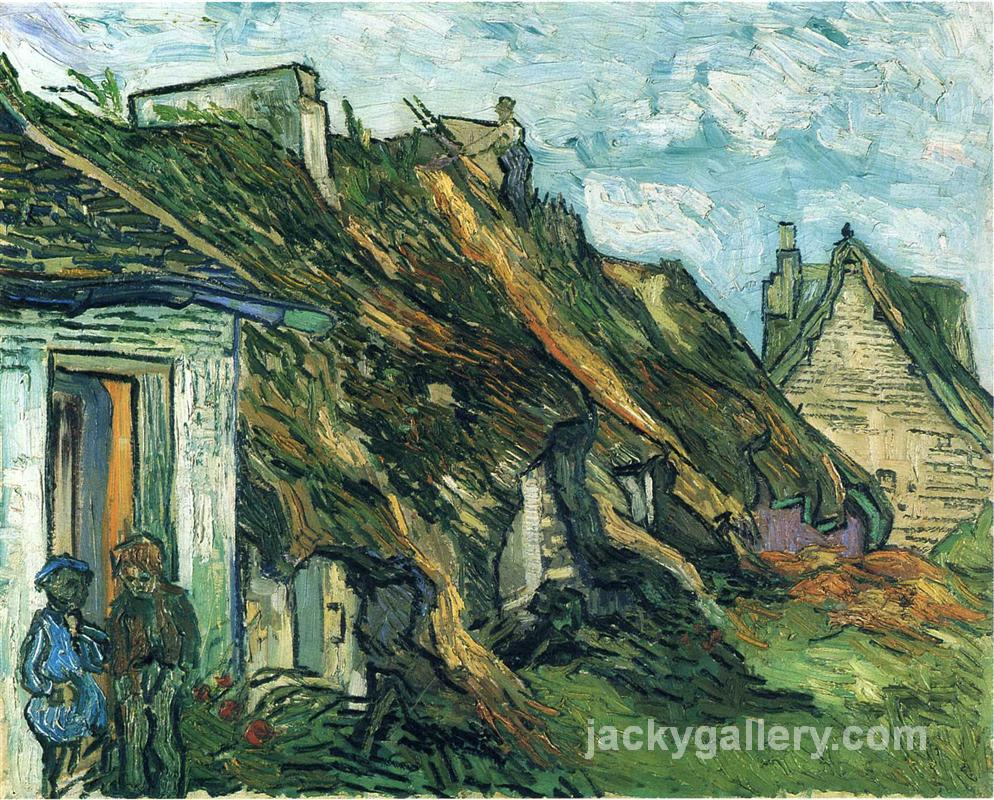 Thatched Sandstone Cottages in Chaponval, Van Gogh painting