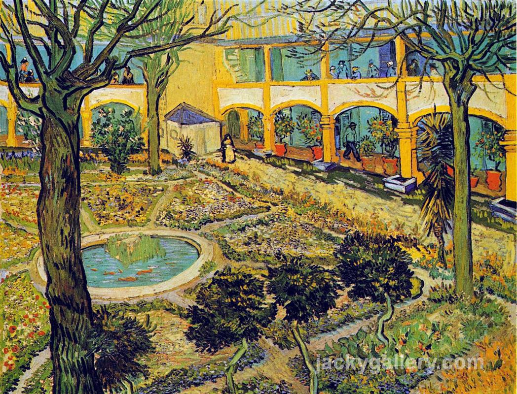 The Courtyard of the Hospital in Arles, Van Gogh painting