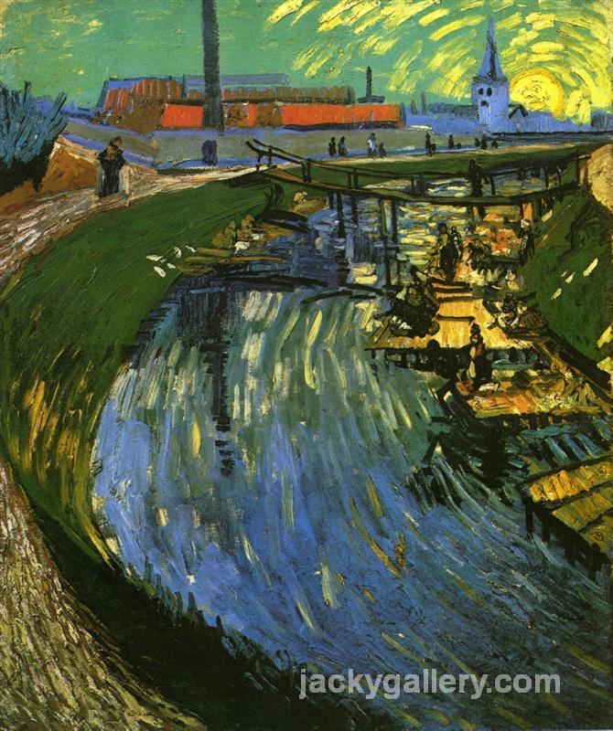 The Roubine du Roi Canal with Washerwomen, Van Gogh painting
