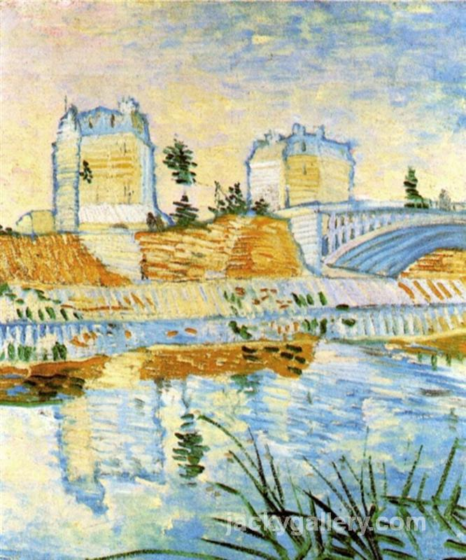 The Seine with the Pont de Clichy, Van Gogh painting