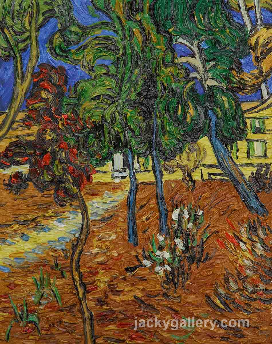Trees in the Garden of St. Paul Hospital, Van Gogh painting