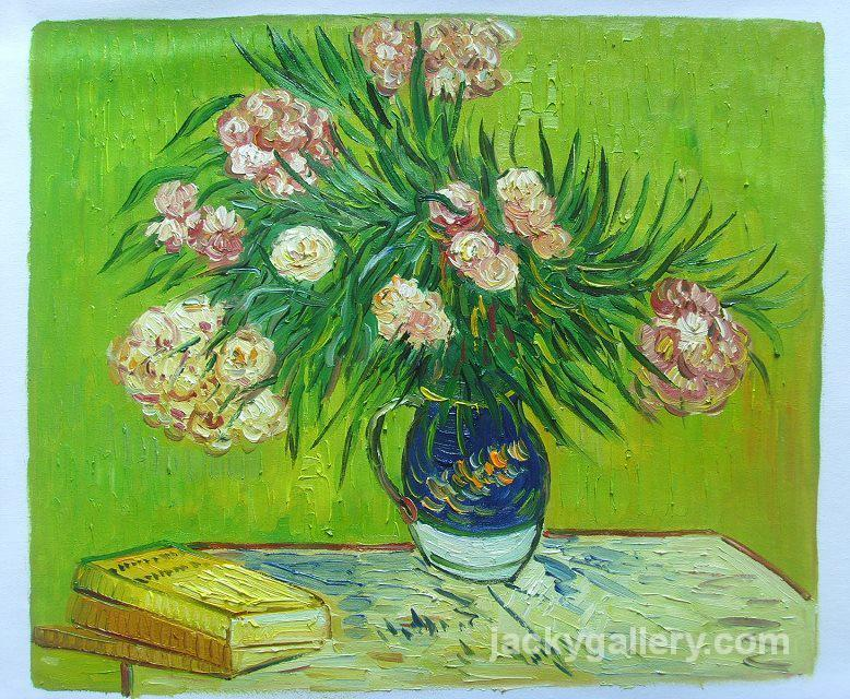 VASE WITH OLEANDERS AND BOOKS,, Van Gogh painting