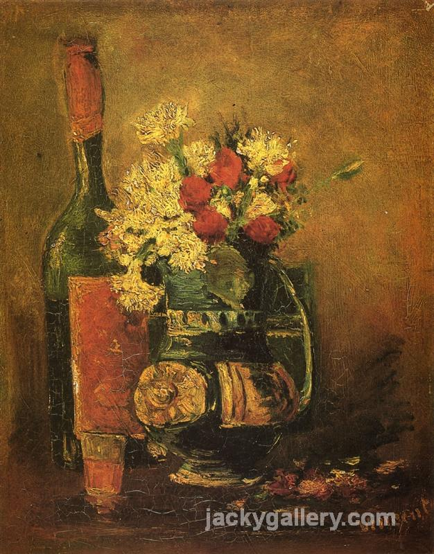 Vase with Carnations and Bottle, Van Gogh painting