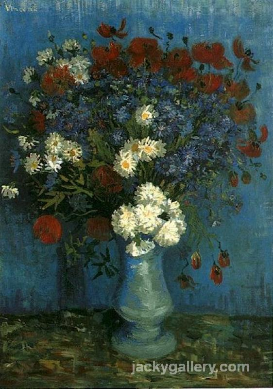 Vase with Cornflowers and Poppies, Van Gogh painting