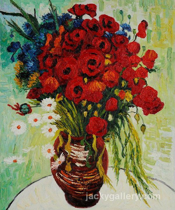 Vase with Daisies and Poppies, Van Gogh painting