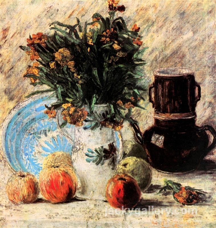 Vase with Flowers, Coffeepot and Fruit, Van Gogh painting