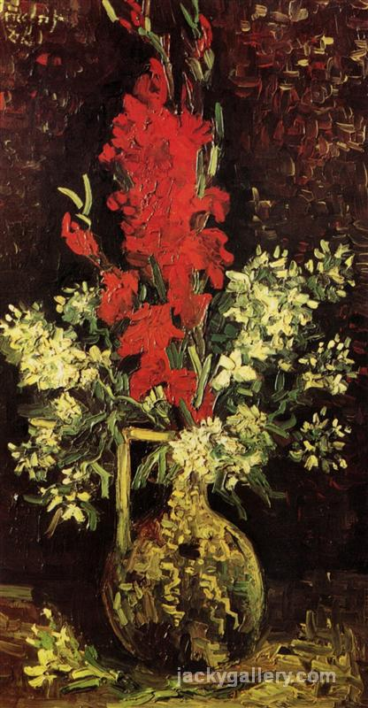 Vase with Gladioli and Carnations, Van Gogh painting
