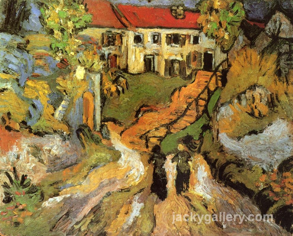 Village Street and Steps in Auvers with Two Figures, Van Gogh painting