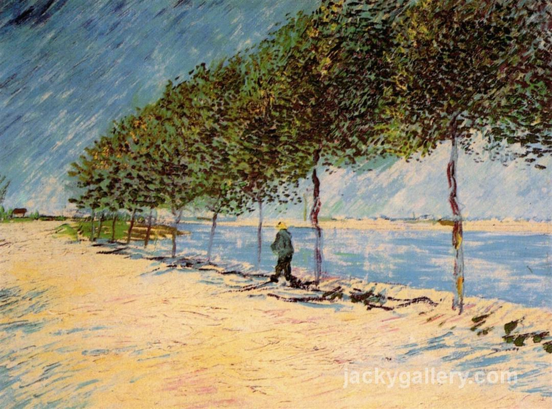 Walk Along the Banks of the Seine Near Asnieres, Van Gogh painting