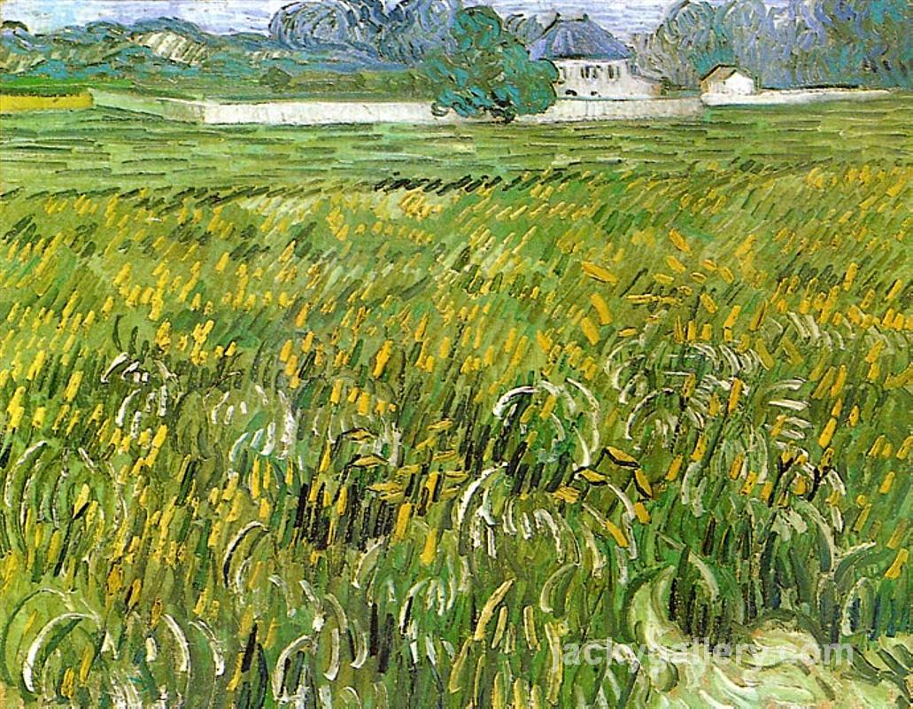 Wheat Field at Auvers with White House, Van Gogh painting