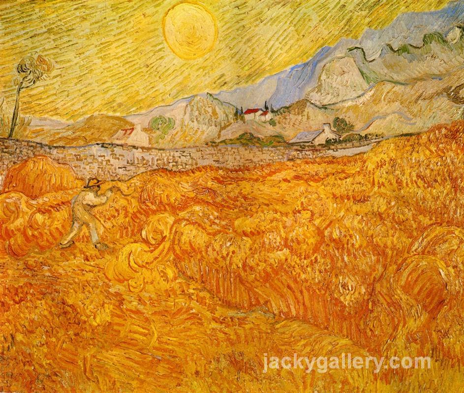Wheat Field behind Saint Paul Hospital with a Reaper, Van Gogh painting