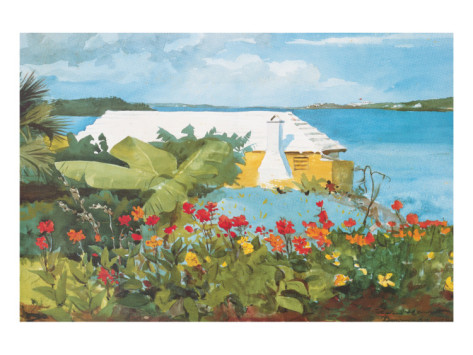 Flower Garden and Bungalow, Bermuda, c.1899 By Winslow Homer